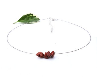 Dainty choker necklace, fine silver choker, minimalist jewelry jasper necklace red gemstone jewelry minimalist choker dainty necklace shikky