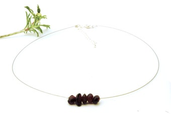 Layer choker necklace, red garnet jewelry, dainty thin choker garnet necklace fine jewelry delicate wire necklace red gemstone choker shikky
