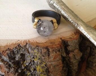 Super Seven Hematite Ring