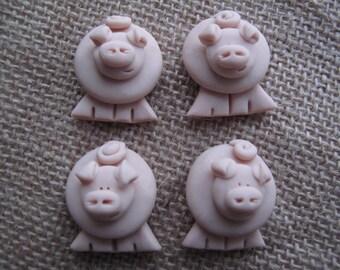 Handmade Crafting Embellishments...4pk...Pigs