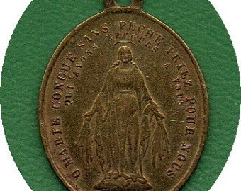 MIRACULOUS MEDAL VINTAGE brass in fine condition for all collectors of 19th century Catholic devotional medals of high quality