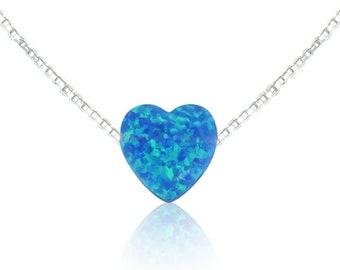 Opal Heart Necklace,  A Sweet Declaration of Love in Sky Blue Opal • On a Sterling Silver Link or Box Chain • The Perfect Opal Gift for Her