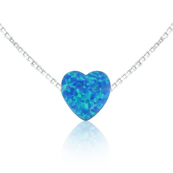 Blue opal heart necklace in REAL sterling silver link or box chain a declaration of love in sky blue opal