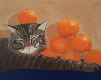 Cat and Mandarins Original Painting, Cat Painting, Fruit Painting, Animal Painting