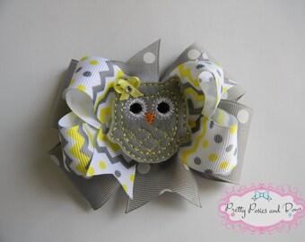 Owl Hair Bow, Grey and Yellow Hair Bow, Grey Owl Hair Bow, Chevron Hair Bow, Polka Dot Hair Bow