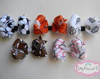 Football Hair Bow, Baseball Hair Bow, Basketball Hair Bow, Soccer Hair Bow, Volleyball Hair Bow, Sports Hair Bow