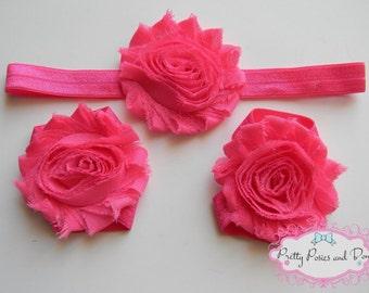 Pink Headband and Barefoot Sandal Set, Dark Pink Headband, Dark Pink Barefoot Sandals, Baby Sandals, Pink Flower Headband, Fuschia Headband