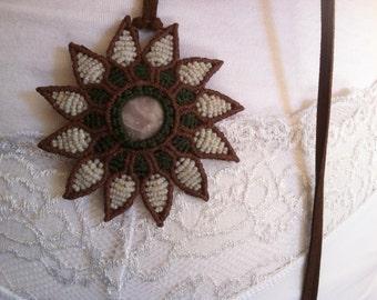Macrame jewelry Flower necklace Handmade jewelry Jasper gemstone Art
