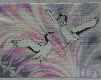 A Song About Two Cranes - Finished completed Cross Stitch