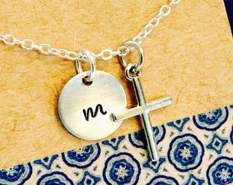 Sale -Cross Necklace with Initial Name Necklace Hand Stamped Necklace