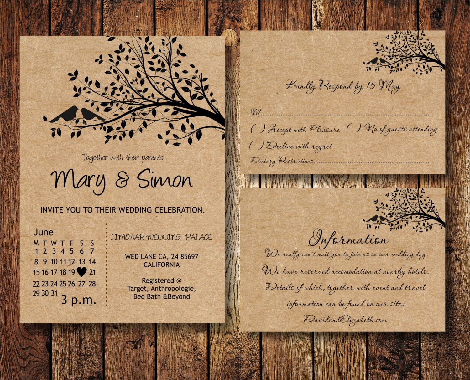 Wedding Invitation Suite Templates: Wedding Invitation Suite Template With Birds On A Tree Kraft