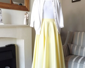 Yellow / Lemon Full Circle Skirt UK 8