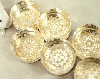 6Pcs Crystal Round Lace Stamp Set -- Korean Rubber Stamps -- Deco Stamps--Diary Stamp