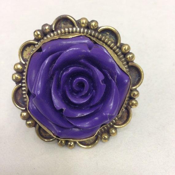 Rings Tibetan Purple Flower Brass Embellished Ring Handmade Jewelry Unique Flower Purple Statement
