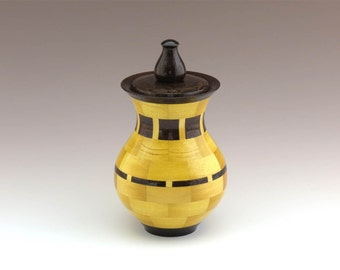 Keepsake Cremation Urn for Ashes - Segmented Wooden Cremation Urn - Small Child, Adult, or Pet Urn (35ci) - Item: SU-12-0115