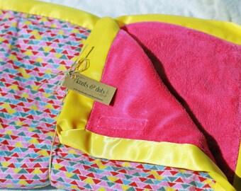 Pink Geo Minky Baby Blanket