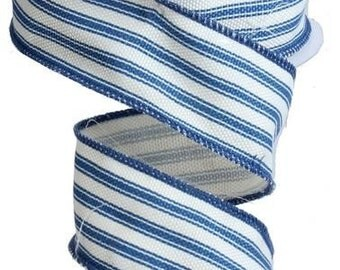 "1.5"" Blue Stripe Ribbon, Blue White Ticking Stripe Ribbon, Blue White Stripe Ribbon (10 Yards) - RA1221W1"