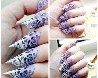 Purple Lolita Candy Claws - Adjustable set of 5 - Blunt or Sharp Variations on Listing