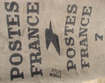 Large vintage French postal bag,mailbag,sack,mail bag,la poste,SNCF,1960's,hessian burlap sack