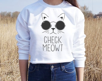 Check Meowt Cropped Sweater Jumper Crop Top Cat Lady OOTD Fashion Gift