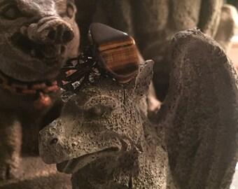 Tumbled Tiger Eye Stone on Adjustable Black Filigree Band