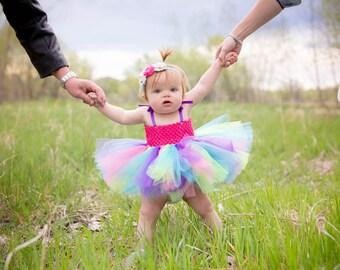 Happy BIrthday colorful tutu dress & removable sash, birthday dress, special occasion dress, dress up