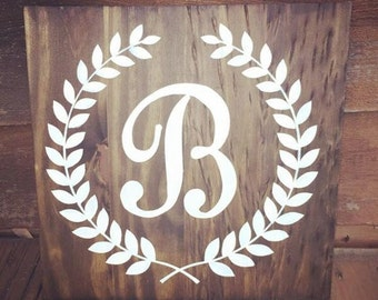 Monogram Wooden Sign - Shabby Chic Decor - Southern Signs - FREE custom colors