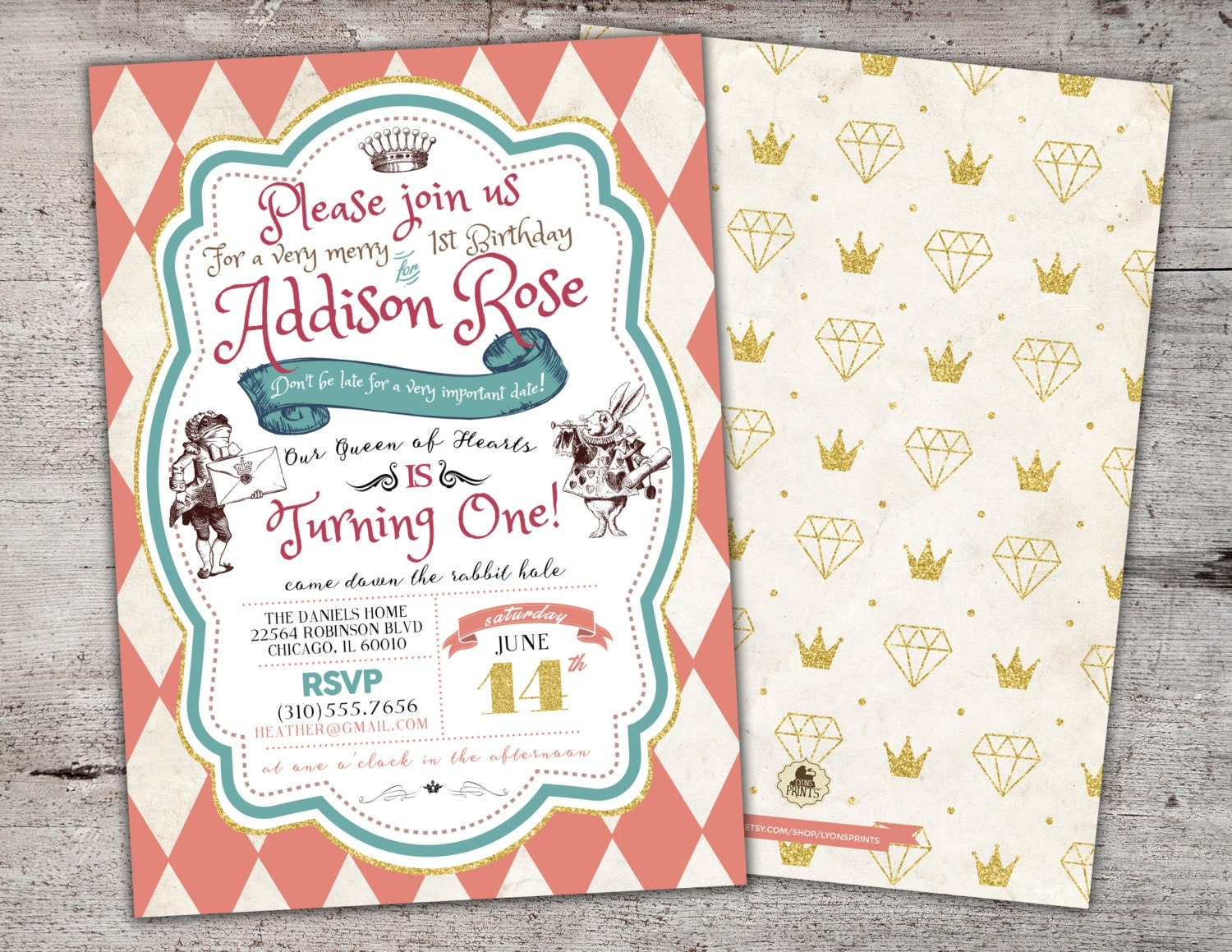 Alice in Wonderland Invitation / First Birthday Invitation /