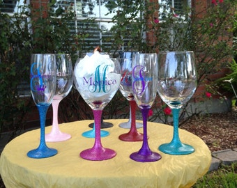 Personalized Glittered Stem Wine Glass