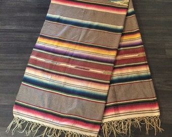 Antique Mexican Serape Saltillo Wool Circa 1940s Heirloom