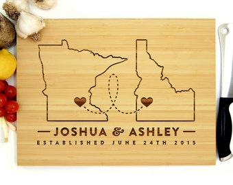 Personalized Cutting Board, Custom Wedding Gift, Where It All Began, Two States, Hearts, Minnesota, Idaho, Engagement Gift, Christmas Gift
