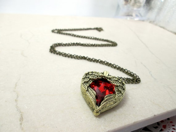 Red Bronze Stone : Antique bronze red stone angel wing heart necklace by trendhub
