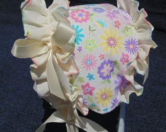 New Handmade Multi-color Floral with Ruffled Trim Baby Bonnet