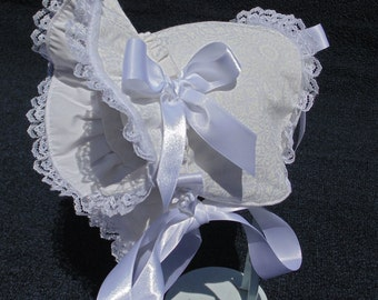 New Handmade White Floral with White Lace and Satin Ribbon Baby Bonnet