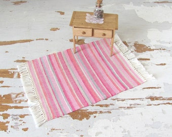 Pink 1:12 Scale Miniature Dollhouse Rug in Multi-Color Stripe, Rustic Cabin Country Farmhouse Cottage Home Decor Handwoven Textile