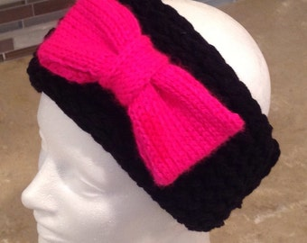 Valentine's Day Headband Bow Headband Woman's Teen Knitted Winter Headband Earwarmer With A Knitted Bow