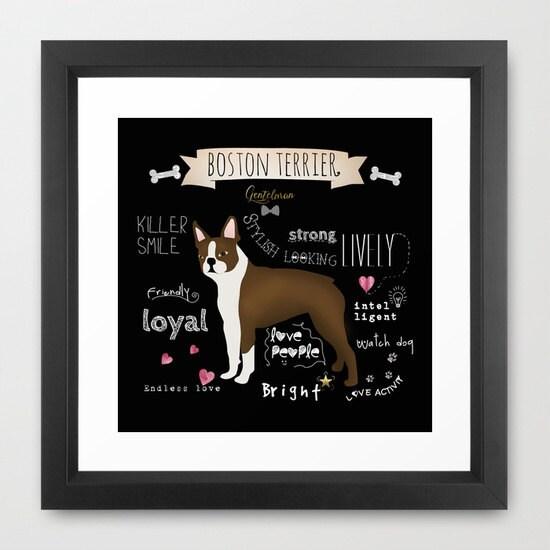 Boston Terrier Dog Wall Decor Terrier Wall Art Print