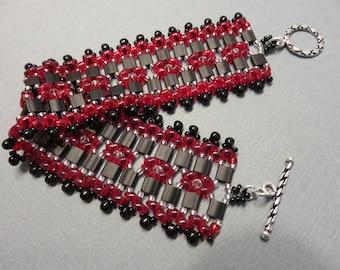 Handmade Beaded Bracelet with SuperDuo Beads and Tila Beads