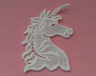 1 Piece Unicorn White Embroidery Applique Patch Sew On