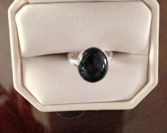 dark green jade 925 Silver ring