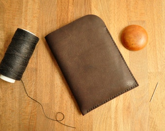 Personalised Simple Leather Ipad Mini Case / Pouch / Tablet / Ebook Reader / Kobo / Kindle Sleeve in Dark Brown