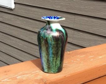 Copper wired crystalline vase