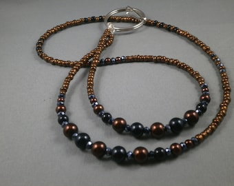 """Brown and black  beaded key or ID lanyard 26"""" to 42"""" plus attachment, your choice of attachment:ID clip,key clip or eyeglass holder"""