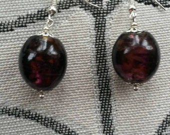 Handmade grape glass bead earrings