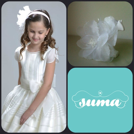 Flower girl headpieces, first communion accerories, first communion headpieces, headband organza flower
