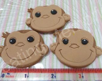 EDIBLE MONKEY FACES - fondant monkey face cupcake topper - who doesn't love monkey's