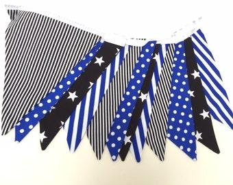 Black & Blue Stars Stripes and Spots Handmade Boys Bunting