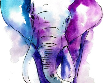 Elephant Watercolor art  - Watercolor Painting Art Print  - Fall home decor and wall art