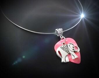 Elephant Necklace - Elephant Charm on Guitar Pick - Customisable