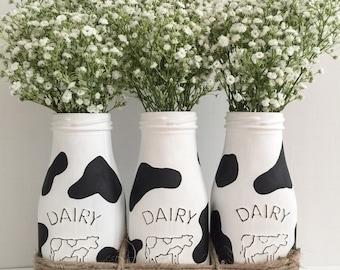 Cow Print Milk Bottles. Mothers Day  Gift. Farmhouse Decor.